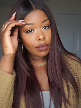 Silky Straight Indian Remy Human Hair 360 Lace Wig Pre-Plucked Hairline [Dominique005]