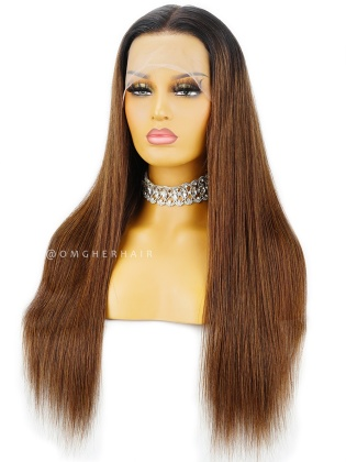 Ombre Silky Straight 4.5'' Parting Lace Front Wigs Pre-Plucked Hairline Indian Remy Hair [ILW67]