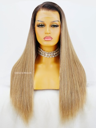 20in Ombre Blonde Silk Straight  13X6 HD Lace Frontal Wig Pre-Plucked & Pre-Bleached [HDW08]
