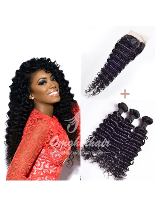 Indian Remy Hair Weaves Deep Wave 3pcs Bundles With 4x4'' Middle Part Closure[WID30]