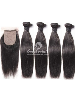 Silky Straight Virgin Brazilian Hair 4x4'' Silk Base Closure With 4pcs Bundle Wefts[WBS44]