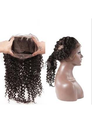Hand-tied 360 Full Lace Frontal Deep Curl Closure With Natural Hairline New Arrival [LF04]