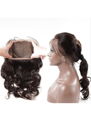 Hand-tied 360 Full Lace Frontal Indian Remy Hair Body Wave Bleached Knots Closure [LF02]