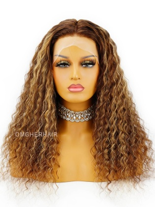 Highlight Brown Loose Curly  6in deep parting  Transparent  Lace  Indian Remy Hair [Aubrey]
