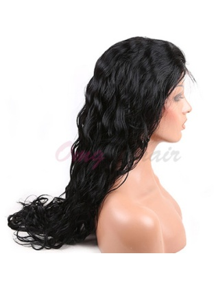 Hot Style Water Wave Indian Remy Hair Full Lace Wigs Natural Black Color [IFW09]