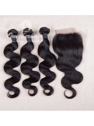 Indian Remy Hair Weaves Body Wave 3pcs Bundles With 4x4'' Free Part Closure[WIB30]
