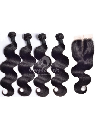 Indian Remy Hair Body Wave 4x4'' Middle Part Closure With 4pcs Weft Weaves[WIB41]