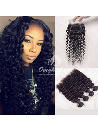 Indian Remy Hair Weaves Deep Wave 4pcs Bundles With 4x4'' Three Part Closure[WID40]