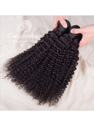Indian Remy Hair Weaves Kinky Curl 2pcs Bundles Natural Color [IK02]