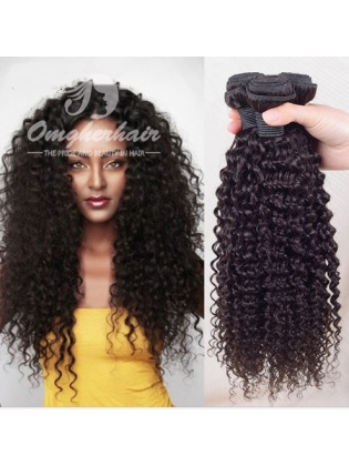 Indian Remy Hair Weave Kinky Curl Natural Color [IK01]
