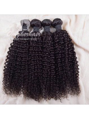 Indian Remy Hair Weaves Natural Color 4pcs Bundles Kinky Curl [IK04]