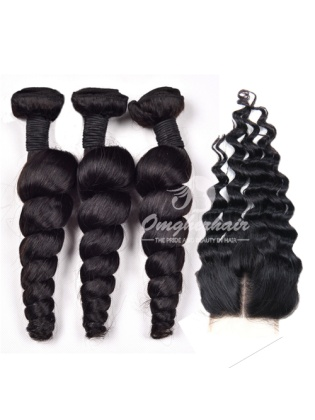 Indian Remy Hair Weaves Loose Wave 3pcs Bundles With 4x4'' Middle Part Closure[WIL30]