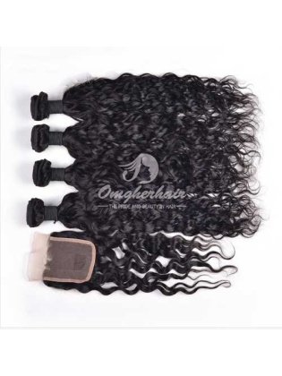 Natural Wave Indian Remy Hair 4x4'' Middle Part Lace Closure With 4pcs Bundles[WIN40]