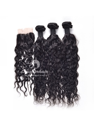Natural Wave Indian Remy Hair 4x4'' Middle Part Lace Closure With 3pcs Bundles[WIN30]