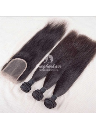Silky Straight Indian Remy Hair Weaves 3pcs Bundles With 4x4'' Free Part Closure[WIS31]