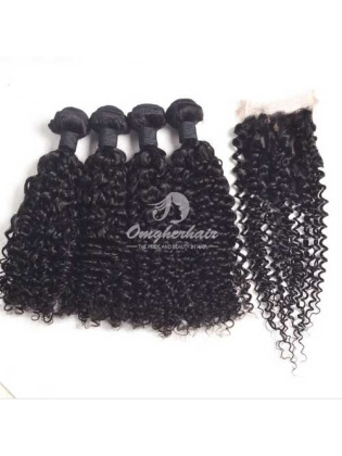 Indian Remy Hair Weaves Water Wave 4pcs Bundles With 4x4'' Middle Part Closure[WIW40]