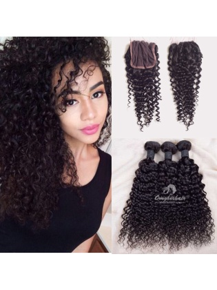 Indian Remy Hair Weaves Water Wave 3pcs Bundles With 4x4'' Middle Part Closure[WIW30]