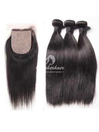 Brazilian Virgin Hair Silky Straight 4x4'' Silk Base Closure With 3pcs Hair Bundles [WBS34]
