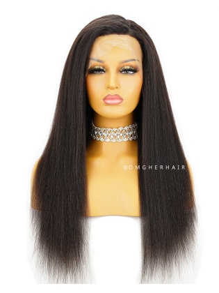 Special Offer- 20 Inch Knotless Scalp Silk Base 360 Lace Wig Italian Yaki Blowout Style [CBW13]