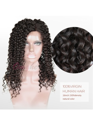Virgin Brazilian Human Hair Glueless Full Lace Wigs Tight Curl [BFW50]