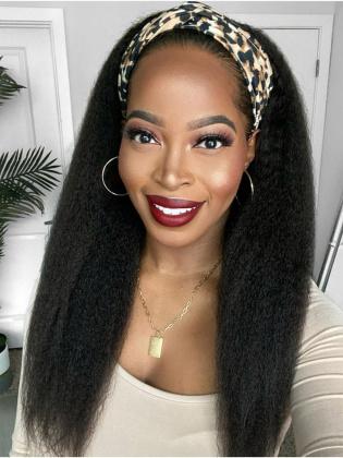 [US Stock]Blowout Kinky Straight Headband Wig Indian Remy Human Hair Natural Black [HBW04 US]