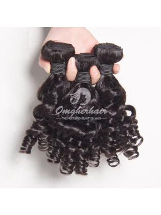 Brazilian Virgin Hair Funmi Hair Weaves Bouncy Curl 2pcs Bundles Natural Color [BFB02]
