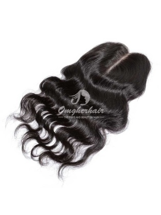 Indian Remy Hair Body Wave Lace Closure 3.5x4'' Bleached Knots Middle Part Or Free Part Closure [IC02]