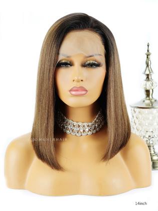 [US Stock]Ombre Light Yaki Bob 150% Density Lace Wig Indian Remy Hair [BOB06US]