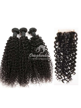 Peruvian Virgin Hair Jerry Curl 4x4inch Silk Base Closure With 3pcs Weave Bundles [WPJ34]