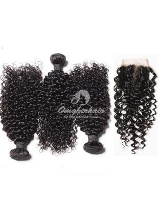 Jerry Curl Virgin Brazilian Hair 4x4inch Silk Base Closure With 3pcs Bundles[WBJ34]