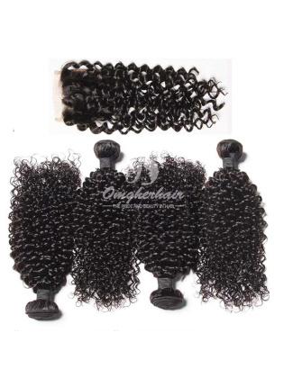Jerry Curl 4pcs Virgin Peruvian Hair Bundles With A Silk Base Closure 4x4'' [WPJ44]