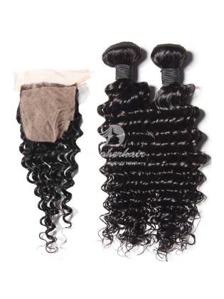Deep Wave Virgin Brazilian Hair Weaves 2pcs Bundles With 4x4'' Silk Base Closure [WBD24]