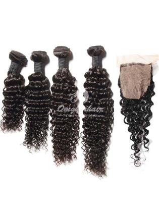 Deep Wave Virgin Brazilian Hair 4x4'' Silk Base Closure With 4pcs Bundles[WBD44]