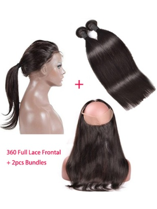 Pre Plucked 360 Full Lace Frontal Closure With Bundles Straight Indian Remy Hair [WFS02]