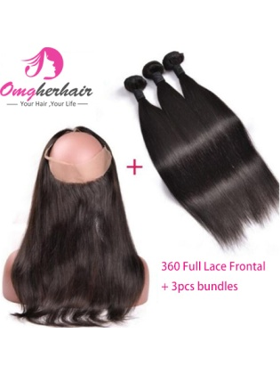 Pre Plucked 360 Full Lace Frontal Closure With Bundles Indian Remy Human Straight Hair [WFS03]