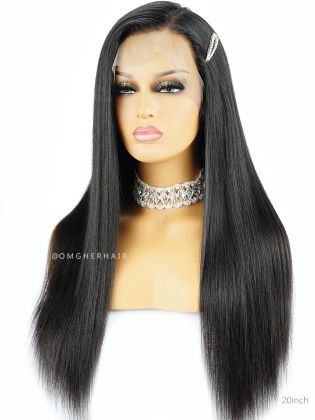 Relaxed Light Yaki Virgin Brazilian Hair 360 Pre-plucked Hairline Lace Wig [NLW06]