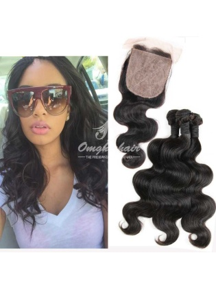 Brazilian Virgin Hair Body Wave 4x4'' Silk Base Closure With 3pcs Bundles [WBB34]