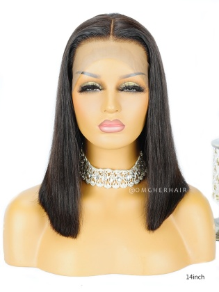 Silky Straight Blunt Cut Bob Lace Wig Indian Remy Hair [BOB04]