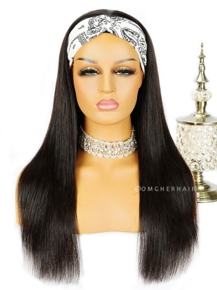 Silky Straight Headband Wig Indian Remy Human Hair [HBW01]