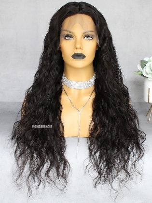 Special Offer-22 Inch &180% Density Water Wave Indian Remy Hair Lace Front Wigs  [CX27]