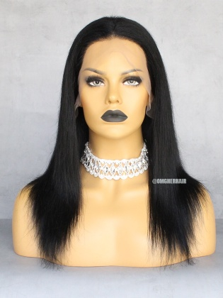Special Offer-Jet Black #1 & 4.5in Lace Front Wigs Light Yaki Pre-Plucked Hairline Indian Remy Human Hair [CX42]