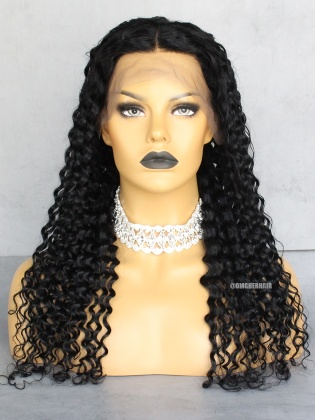 Special Offer-Jet Black #1 Water Curl 3in Parting Lace Front Wigs Pre-Plucked Hairline Indian Remy Hair [CX31]