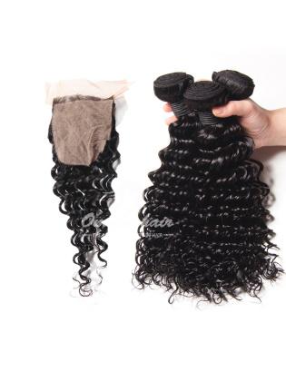 Deep Wave Virgin Brazilian Hair 4x4'' Silk Base Closure With 3pcs Bundles [WBD34]