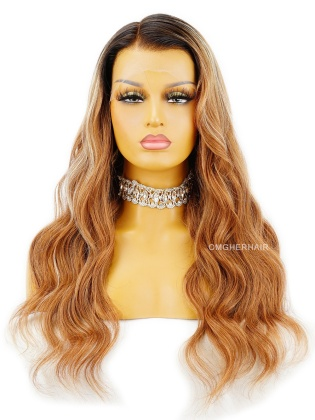 20in Sexy Wavy Honey Brown 13X6 HD Lace Frontal Wig Pre-Plucked & Pre-Bleached [HDW07]