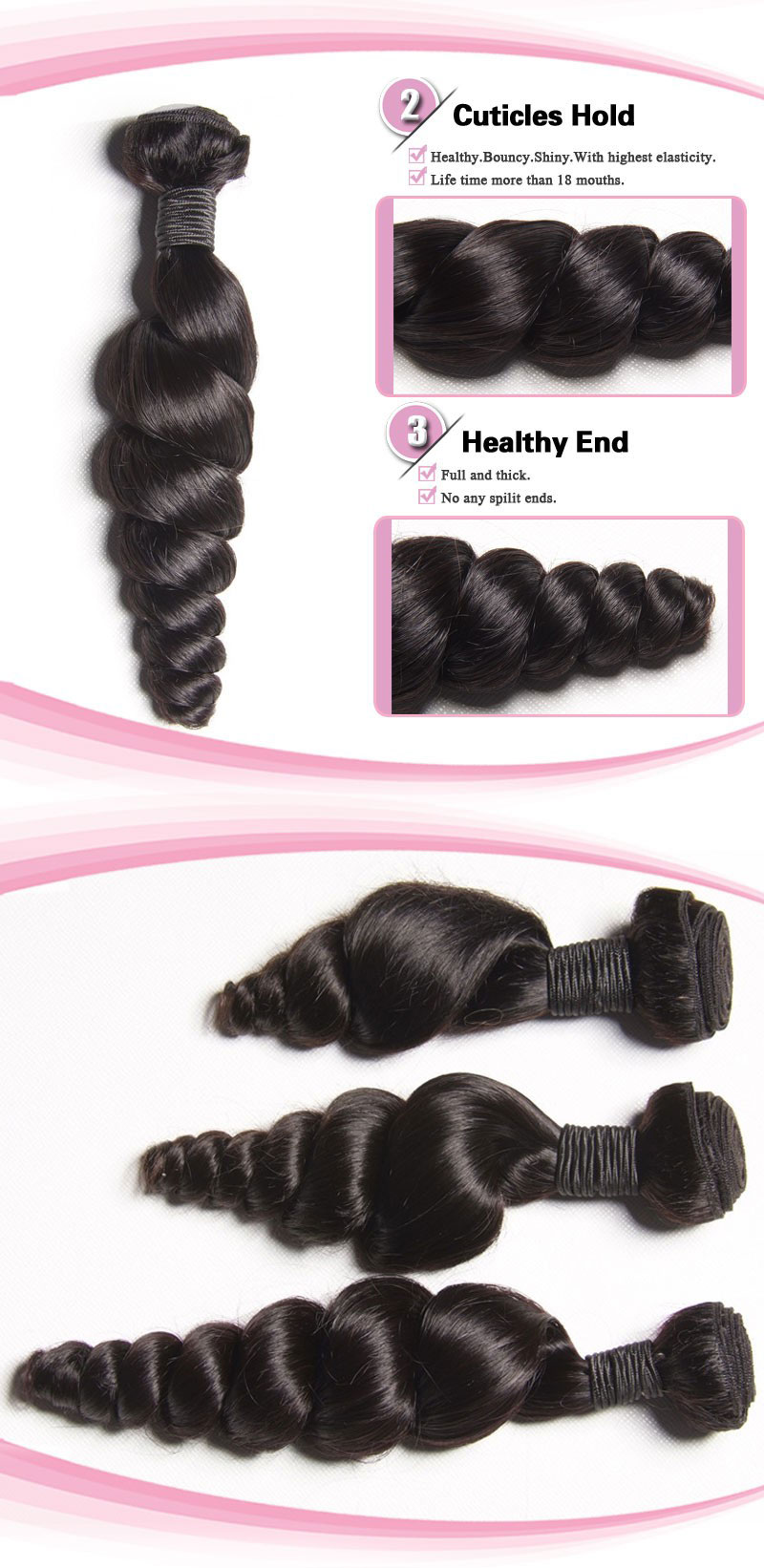 100% Peruvian Virgin Hair Weave Loose Wave 02