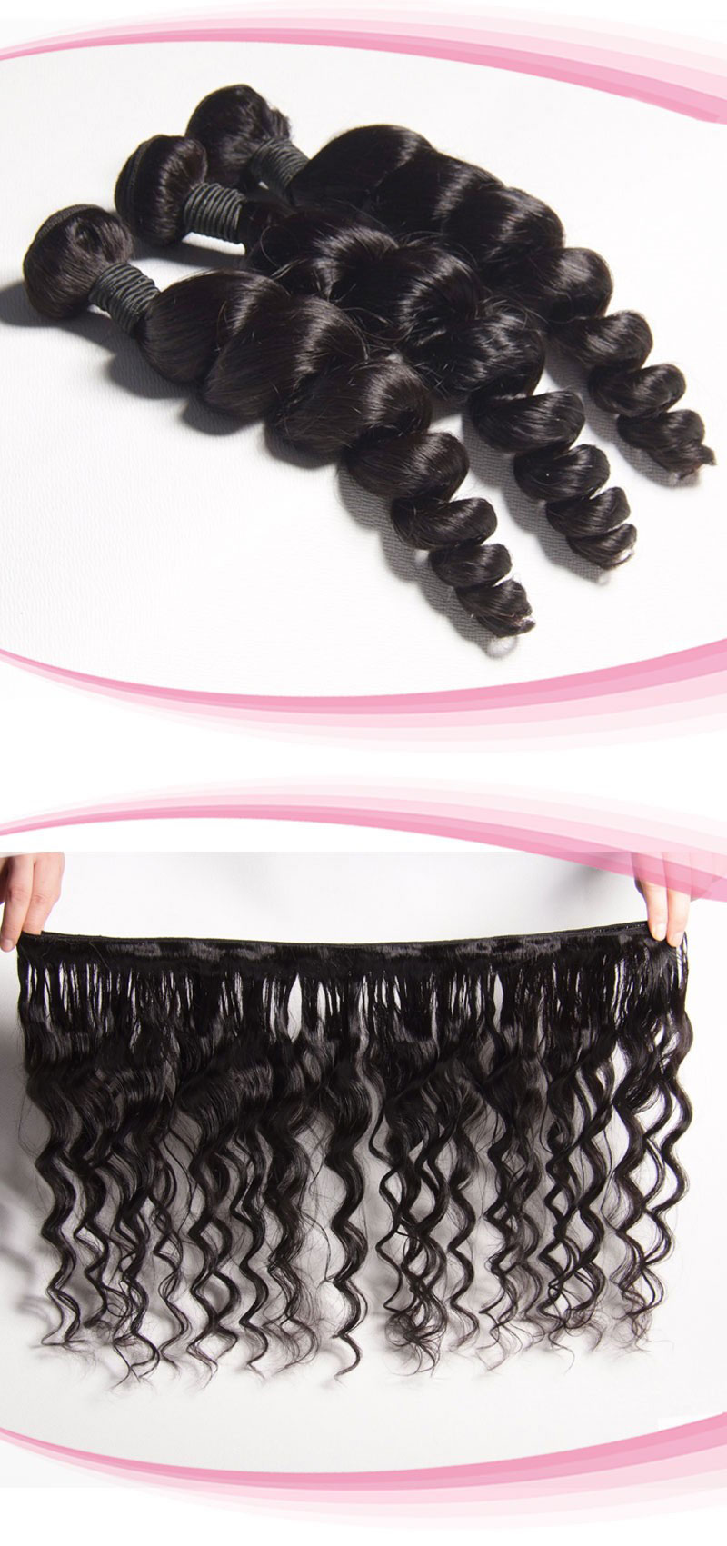 Peruvian Virgin Hair Weaves Loose Wave 3pcs Bundles With Lace Closure 4x4inch No Part [WPL30]