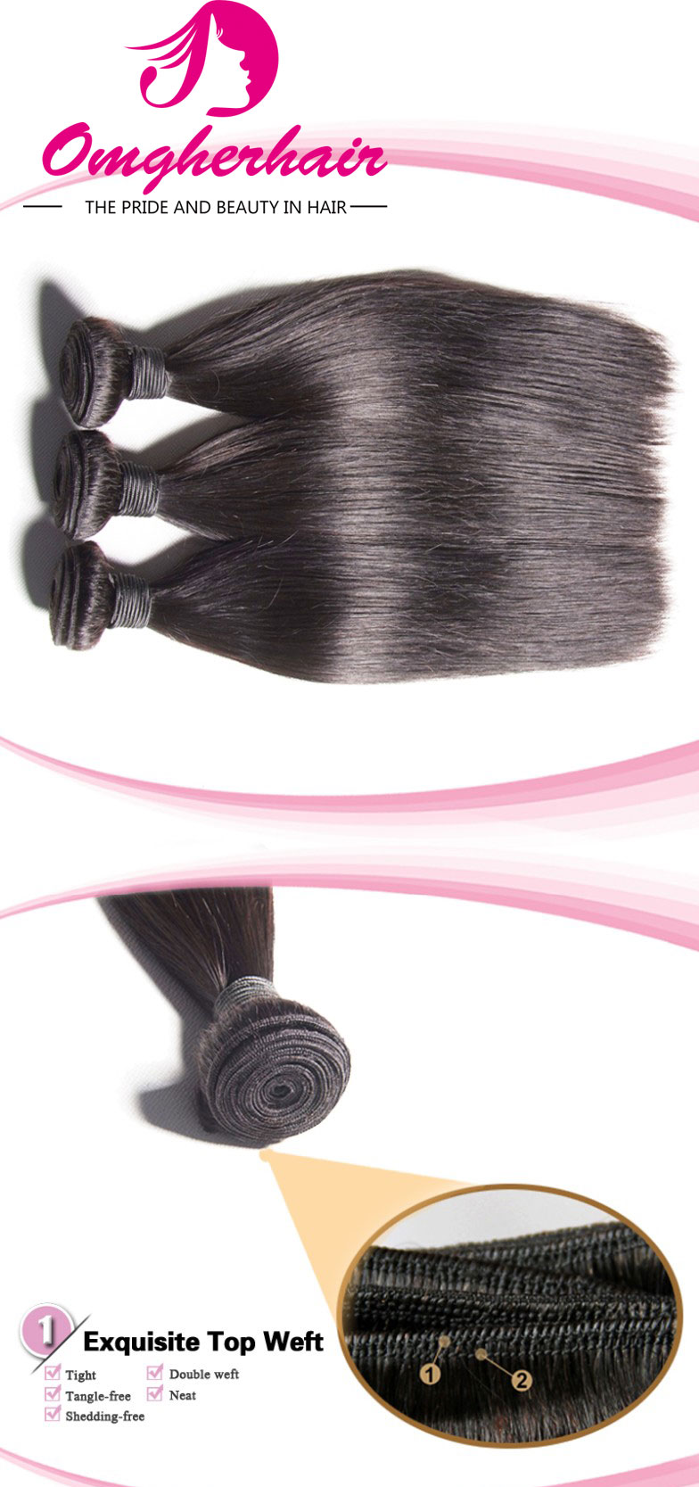 100% Peruvian Virgin Hair Weave Silky Straight01